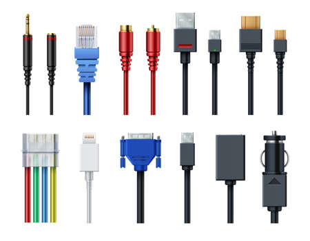 Cable wire computer video, audio, usb, hdmi, network and electric conectors and plugs vector set isolated. Socket and wire, connector usb and audio. Vector illustration