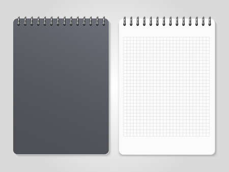 Realistic notebooks with spiral - cover and lined page. Vector illustration Векторная Иллюстрация
