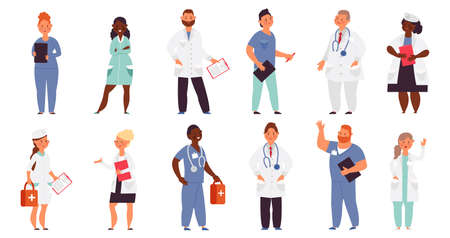 Hospital team. Medical men, doctor nurse group. Healthcare workers, isolated smiling caring staff. Cartoon decent physician, surgeon vector characters. Illustration hospital team, medical healthcare Vektorové ilustrace