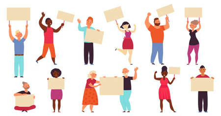 People with placards. Protest walk, political parade. Isolated demonstration characters, meeting or protestants action decent vector set. Illustration demonstration and protester, revolution protest Ilustración de vector
