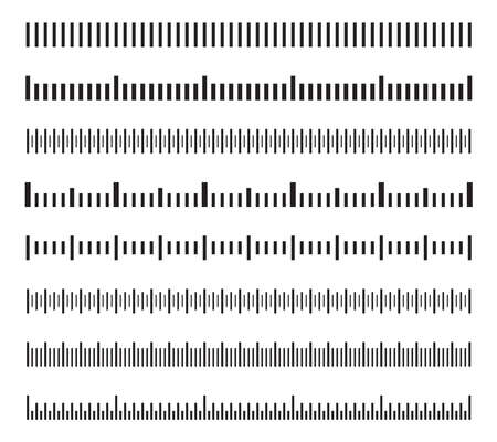Horizontal measure distance scales, calibration measuring size indicators vector set isolated. Illustration of ruler chart indicator Vettoriali