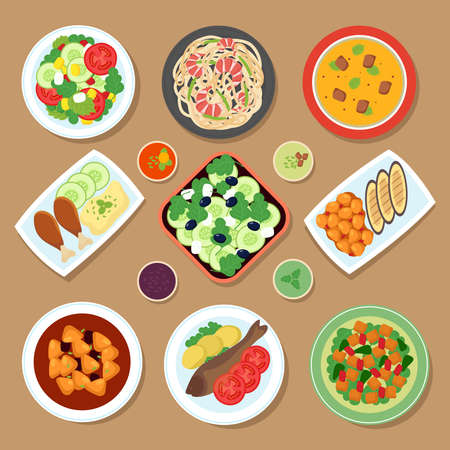 Top view dinner table with european dishes and japanese cuisine meal. Cartoon food vector set isolated. Illustration of menu plate with meal, set of traditional cooking
