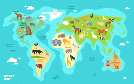 Cartoon world map with animals, oceans and continents. Funny geography for kids education vector illustration. World planet, africa and asia, america and australia Vecteurs