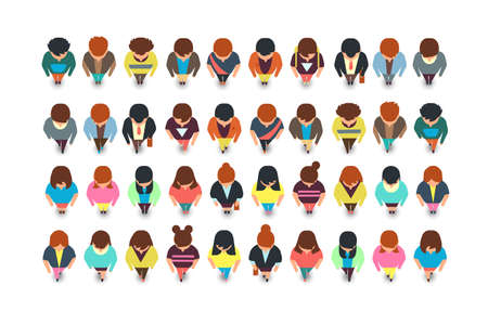Top view standing people, cartoon man and woman vector collection isolated. Illustration of female and male character