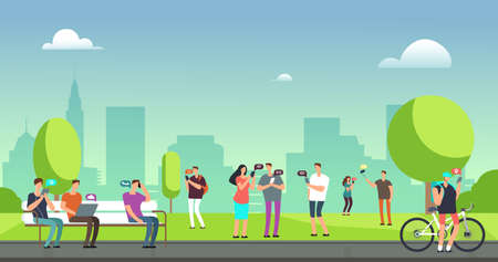 Young people using smartphones and tablets walking outdoors in park. Mobile internet addiction vector concept. Smartphone use in green park, chatting gadget illustration