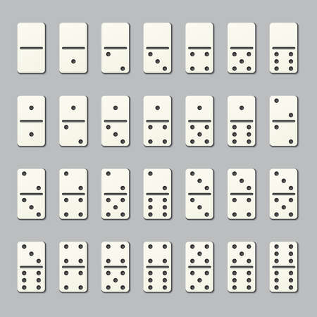 Full domino pieces. Numbered tiles for family strategy table game. Vector dominoes signs isolated on transparent background. Number dots, game entertainment with rectangle illustration Vector Illustration