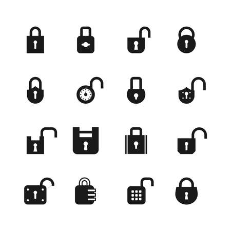 Open and closed padlock icons. Lock, security and password vector isolated symbols. Open lock, safety protection illustration Vektorgrafik