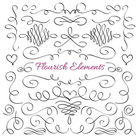 Classic elegant flourish decorative elements. Royal calligraphic swirls line vector collection. Illustration of filigree ornament victorian line elegant, swirl wedding Vettoriali