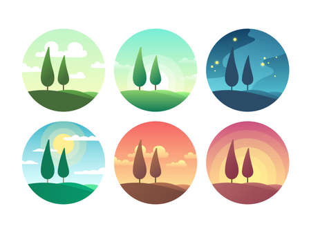 Beautiful summer landscape at different times of day. Sunrise morning, sunny day, sunset evening and starry night vector icons. Sunrise and sunburst, sunshine lighting morning coolection of icons