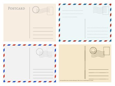 Travel postcard templates. Greetings post cards backside vector set. Postal empty blank for mail illustration Vektorgrafik