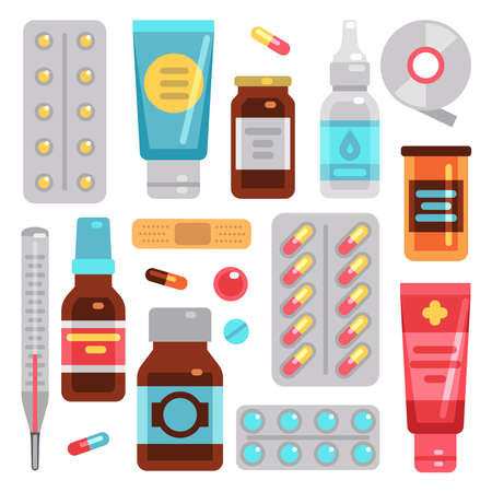 Medicine pharmacy drugs, pills, medicament bottles and medical equipment vector flat icons. Drug and vitamin, equipment for health, bottle medical illustration Vektoros illusztráció