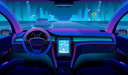 Future autonomous vehicle, driverless car interior with obstacles and night landscape outside. Futuristic car assistant vector concept. Sensor system driver navigation for vehicle illustration
