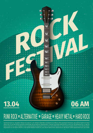Vintage rock festival flyer with electric guitar. Retro music concert affiche, poster with typography. Vector template banner with rock guitar illustration