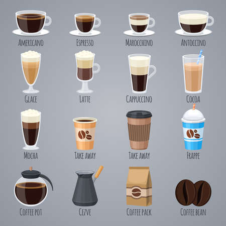 Espresso, latte, cappuccino in glasses and mugs. Coffee types for coffee house menu. Flat vector icons set drink beverage, morning caffeine aroma illustration
