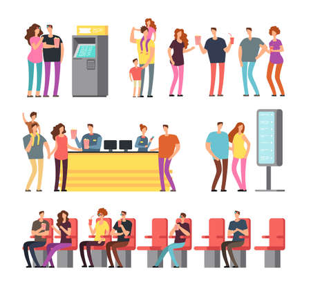 Happy young couples in 3d movie theater. Cartoon people vector characters set isolated. Cinema movie with viewer character illustration