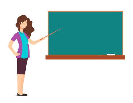 Cartoon teacher woman at blackboard teaching children in school classroom vector illustration. Education chalkboard for class room and lesson