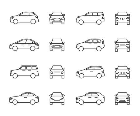 Cars front and side view line signs, auto symbols. Vehicle outline vector icons isolated on white background. Auto vehicle car, illustration of automobile transport Vecteurs