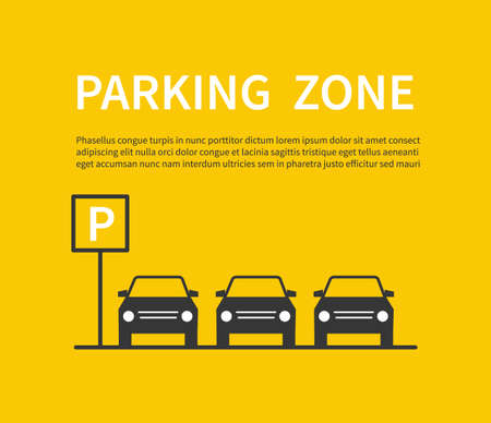 Parking zone sign with car black silhouette icons. City parking lot vector concept. Carpark banner, place area for car illustration