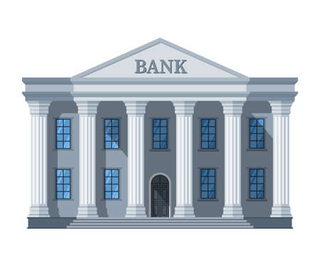 Cartoon retro bank building or courthouse with columns vector illustration isolated on white background. Bank building architecture with column Векторная Иллюстрация