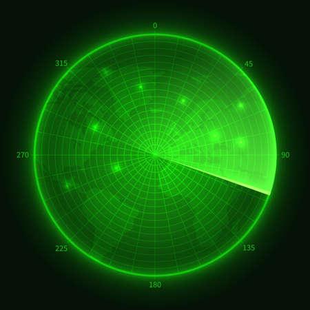 Green radar. Navy submarine sonar with aims. Navigation screen vector illustration. Military sonar screen, radar monitor digital system scanner Векторная Иллюстрация
