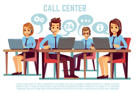 Group of operators with headset supporting people in call center office. Business support and telemarketing vector concept. Illustration of online consultant communication, feedback, helping hotline