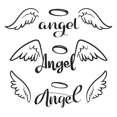 Doodle flying angel wings with halo. Sketch angelic wings. Freedom and religious tattoo vector design isolated on white background. Feather wing flying, heavenly and angelic emblem illustration