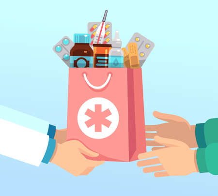 Pharmacist gives bag with antibiotic drugs according to recipe to hands of patient. Pharmacy vector concept medical treatment, pill drug and medication illustration Vektorgrafik