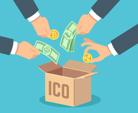 Ico concept. Token bank, blockchain technology, ethereum and bitcoin crowdfunding. Vector background. Crowdsourcing financing crypto money Vetores