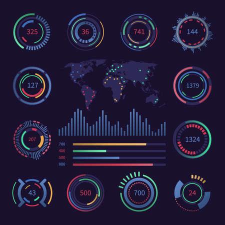 Circular digital hud visualisation data elements. Sci fi interfaces with infographics charts. Vector futuristic statistics panel. Dashboard control with data visual circle illustration Векторная Иллюстрация