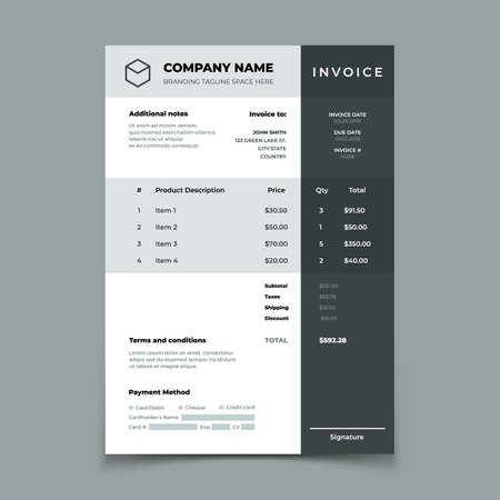 Invoice template. Bill with price table. Paper order bookkeeping service document. Quotation vector design. Illustration of accounting document template with product description and finance form