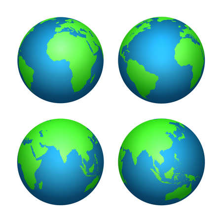 Earth 3d globe. World map with green continents and blue oceans. Vector isolated set of earth planet, world globe with continent illustration Vektorgrafik
