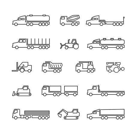 Construction machines. Trucks, tractors and heavy equipment line icons. Vector transport tractor, transportation machine bulldozer and loader illustration