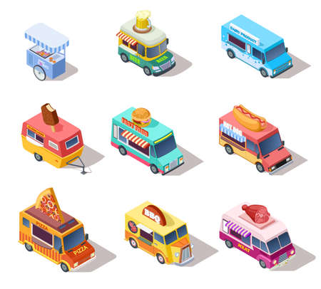 Isometric street food trucks and carts. Selling hot dogs and coffee, pizza and snacks. 3d isolated vector set. Illustration of market truck, street cart, ice cream and pizza Vektorgrafik