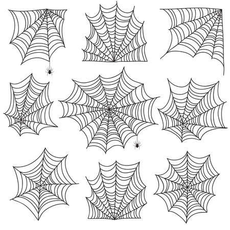 Spiderweb. Spooky cobweb and web corners with spider. Halloween vector icons isolated on white background. Spooky corner for halloween, scary spider silhouette illustration Vektorgrafik