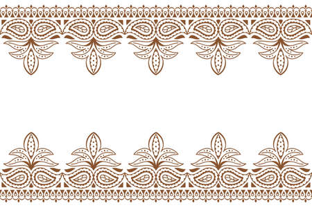 Mehndi background. Indian embroidery design wuth henna ornament. Wedding backdrop henna indian lace ornament, vector illustration
