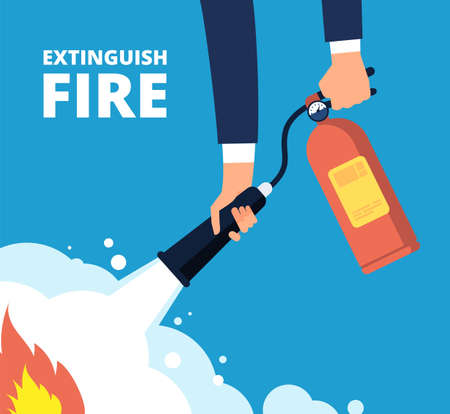 Extinguish fire. Fireman with fire extinguisher. Emergency training and protection from flame vector concept. Illustration of protection and danger burn, security accident