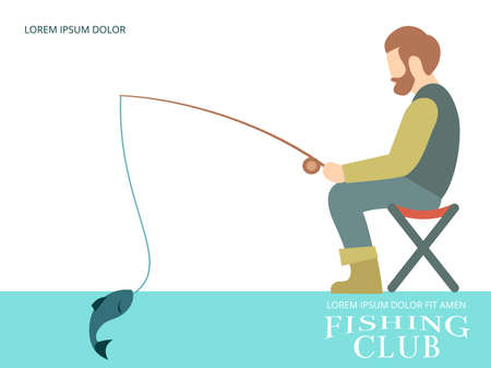 Fishing background banner design with fisherman, fish and equipment. Vector illustration