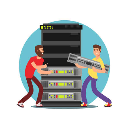 Two male server administrators working with data base. IT flat vector illustration