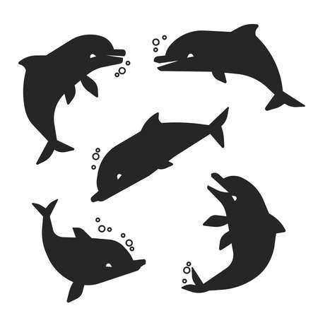 Black happy dolphins of set silhouettes isolated on white background. Vector illustration