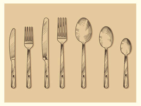 Vintage cutlery set vector design. Hand drawn knife, fork, spoon in sketch engraving style isolated on background illustration
