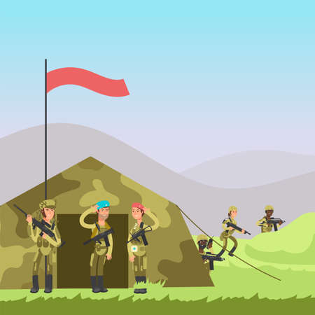 Military soldiers training vector illustration. Cartoon soldiers, tent on landscape