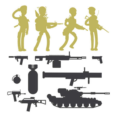 Silhouettes of military soldiers, ammunition, guns and weapons isolated on whiye background vector collection illustration