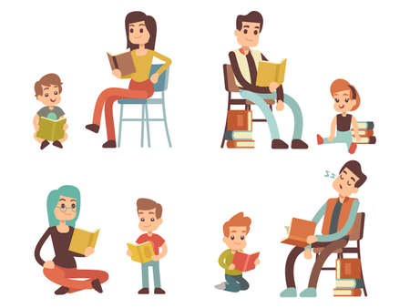 Cartoon character adults and kids reading books isolated on white background. Vector illustration