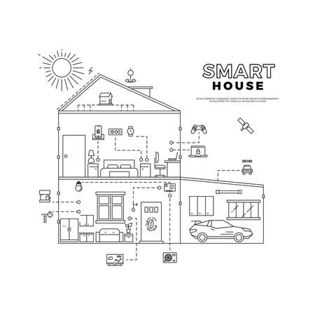 Black outline smart house technology system project vector concept isolated on white background illustration