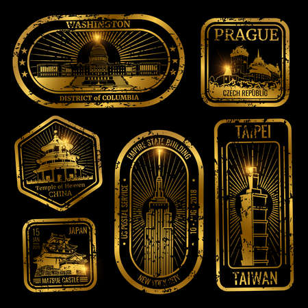 Gold vintage travel stamps with major monuments and landmarks isolated on black illustration