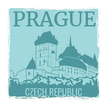 Prague travel poster vector design with castle silhouette. Prague city landmark, tourism europe, architecture town czech illustration Vektoros illusztráció