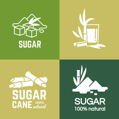 White sugar label and badge of collection vector design illustration. Cane and beet sugars