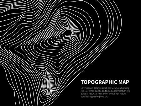 Contour map. Cartography line relief graphic vector geometric background. Cartography and topographic background, area physical relief illustration Foto de archivo - 168188846