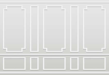 Empty white wall. Moulding panels classic home decoration. Living room vector interior. Illustration of wall plaster panel, architecture interior Vector Illustratie