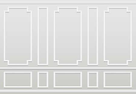 Empty white wall. Moulding panels classic home decoration. Living room vector interior. Illustration of wall plaster panel, architecture interior Ilustração Vetorial